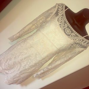 Express Cream lace overlay dress